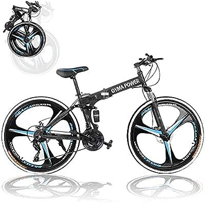 Huitrady 26'' Adults Folding Mountain Bike, 21 Speed Full Suspension High-Carbon Steel Mountain Bike,Men and Women's Outdoor Exercise Road Dual Disc Brakes Non-Slip Bikes (Black)
