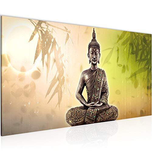 Bilder Buddha Wandbild Vlies - Leinwand Bild XXL Format Wandbilder Wohnzimmer Wohnung Deko Kunstdrucke Grün 1 Teilig - MADE IN GERMANY - Fertig zum Aufhängen 500312c