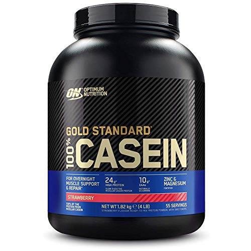 Optimum Nutrition Gold Standard Casein Slow Digesting Protein Powder with Zinc, Magnesium and Naturally Occuring Glutamine and Amino Acids, Strawberry, 55 Servings, 1.82 kg, Packaging May Vary