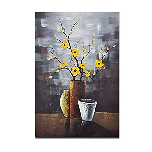 Wieco Art - Silent Beauty Modern Stretched and Framed Floral Artwork 100% Hand Painted Abstract Flowers Oil Paintings on Canvas Wall Art Ready to Hang for Living Room Bedroom Home Decorations
