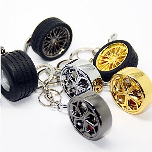 Luxus Schlüsselanhänger aus Metall - Felge Speiche Rad - Anhänger Schlüsselring Etui Chromfelge Schlüssel (Felge goldfarbig ohne Reifen)