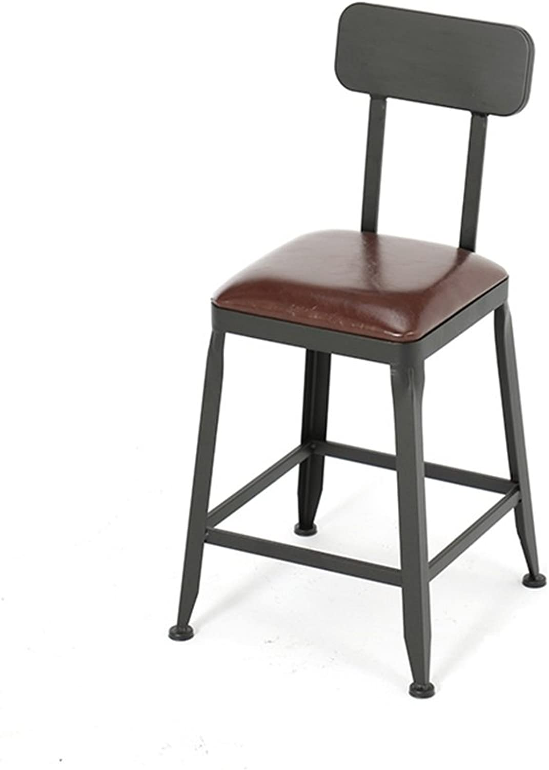 American Style Iron Art Bar Chair Retro Solid Wood   PU Leather Bar Stool Dining Chair for Family and Business Office (Size   40×40×45cm) ( color    1 )