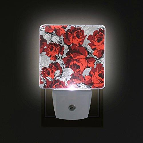 LORVIES Red Roses Plug in LED Night Light Auto Sensor Smart Dusk to Dawn Decorative Night for Bedroom, Bathroom, Kitchen, Hallway, Stairs,Hallway,Baby's Room, Energy Saving