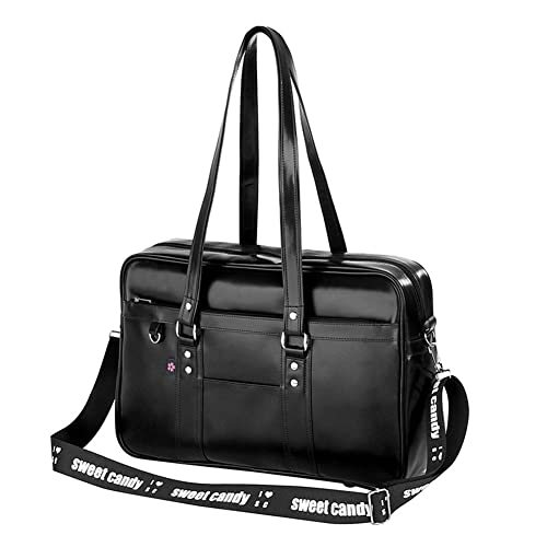 19bff557334f Japanese Anime Messenger Bags PU Leather Student Shoulder School Bags  Backpack Black with Cross Strap
