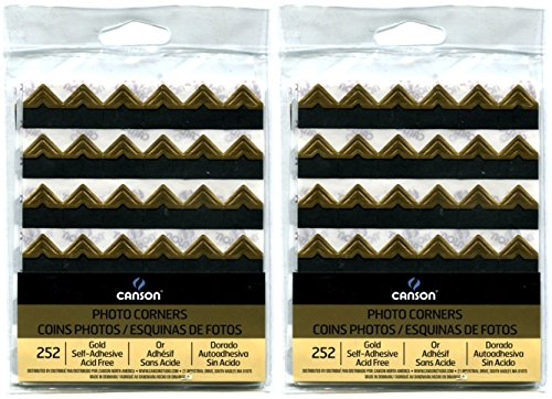 2-Pack Bundle - Canson Self Adhesive Photo Corners, Peel-Off Archival Quality, Gold, 252 count each Pack
