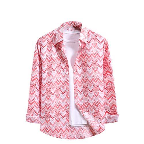Tops Blouse T-Shirt Men Fashion Stripe Print Long Sleeve Casual (L,2Pink)