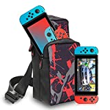 GOLDCHAMP Switch Travel Bag, Portable Nylon Water Resistant Shoulder Bag Storage Backpack, for Nintendo Switch Console/Dock/Switch Accessories, Chest Bag compatible with Nintendo Switch