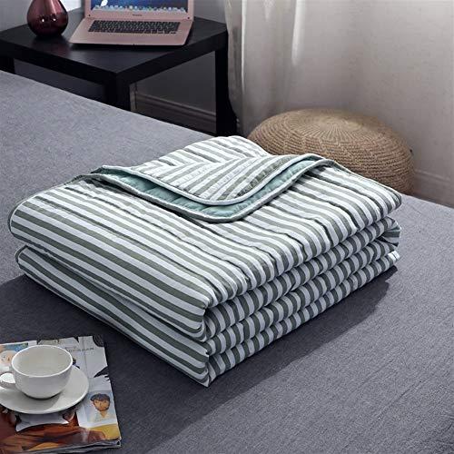 Deken Plaid Airconditioning Gooi Cover Zomer Katoen Dunne Cover voor bedden Office Sofa Handdoek Quilt Tv Deken, Cover gewogen deken 150x200cm Groen