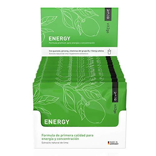 Vit2go ENERGY (30 sobres) - Bebida energética con cafeína (124 mg), guaraná y taurina, Complejo vitamínico con minerales (8 vitaminas B y aminoácidos esenciales, magnesio, calcio, zinc), vegano
