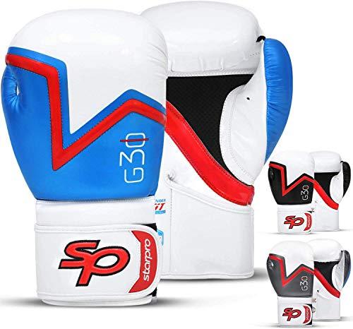Starpro Bokshandschoenen Bokstraining Muay Thai | Handschoenen voor Kickboksen Grappling Sparring | Geweldig voor Boksen Vechtsport Thaiboksen en Bokszakken Mannen Dames PU Leer Blauw Zwart Grijs