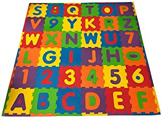 FUN n' SAFE (7173A) Kid's ABC/123 Play Mat, 36 Interlocking Foam Tiles with Pop-Out Letters and Numbers