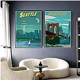 YHJK Impresión en Lienzo Paisaje de la Ciudad turística de fama Mundial Paisaje Retro Cartel de Arte de la Pared impresión de Imagen decoración del hogar 2x60x80cm sin Marco