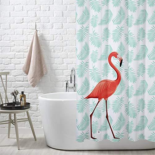 Duschvorhang Wasserdicht und Anti Schimmel Duschvorhänge Flamingo Digital Gedruckt Badvorhänge 180x200CM