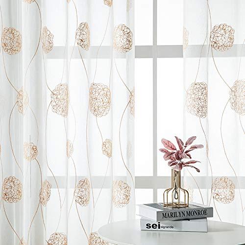 MRTREES Bestickte halbdurchsichtige Vorhänge für Wohnzimmer, Blumenstickerei, Vorhang, 182,9 cm Länge, Nestmuster, Voile-Vorhangpaneele für Blumenfenster, Vorhangstangen, 2 Paneele beige