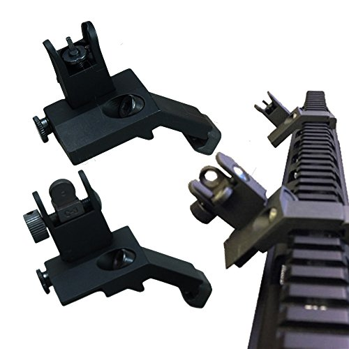 Ledsniper Front and Rear flip up 45 Degree Rapid Transition BUIS Backup Iron Sight