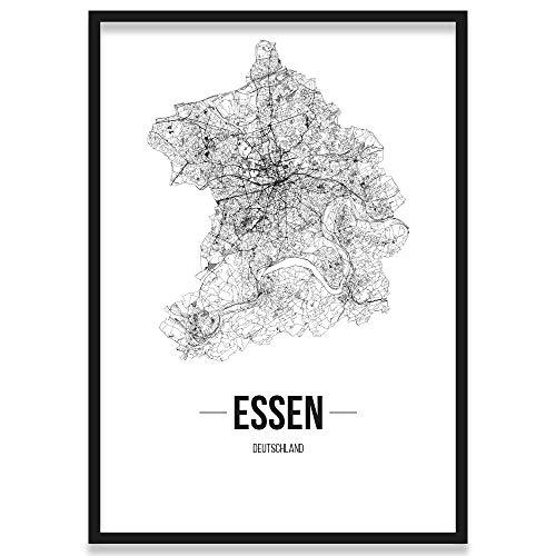JUNIWORDS Stadtposter, Essen, Wähle eine Größe, 21 x 30 cm, Poster mit Rahmen, Schrift B, Weiß