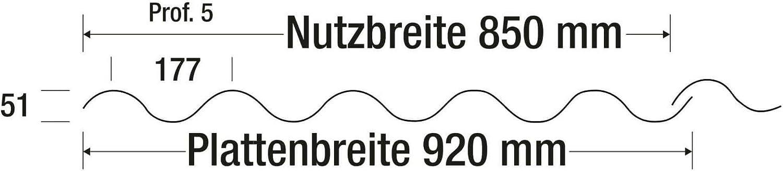 Material Acrylglas Lichtplatte Lichtwellplatte St/ärke 3,0 mm Breite 920 mm Profil 177//51 Farbe Glasklar Wellplatte L/änge 1,25 m
