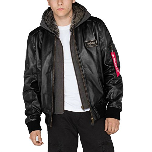ALPHA INDUSTRIES MA-1 D-Tec Leather, black, M para Hombre