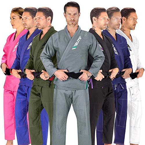 Elite Sports BJJ GI for Men IBJJF Kimono BJJ Jiujitsu GIS W/Preshrunk Fabric & Free Belt (See Special Sizing Guide) (Gray, Size 3)