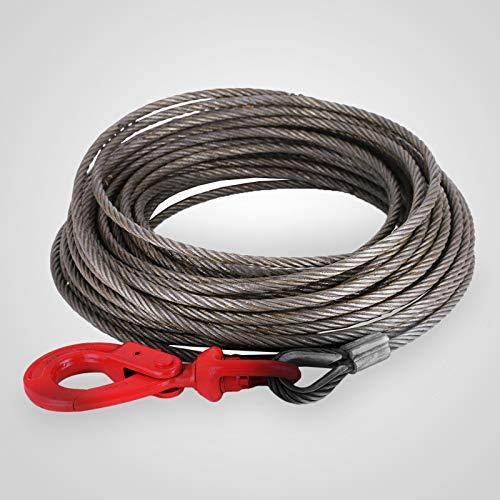 Mophorn Corde de Levage15m Forêt Corde 2000kg / 2T Corde de Levage Corde métallique Corde de grue Corde de remorquage avec crochet de levage