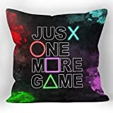 XUWELL Gamer Just One More Game Soft Throw Pillow Cover, Gamer Boys Teen Gifts, Cushion Cover for Sofa Bed Home Game Room Decor 18 x 18 Inch