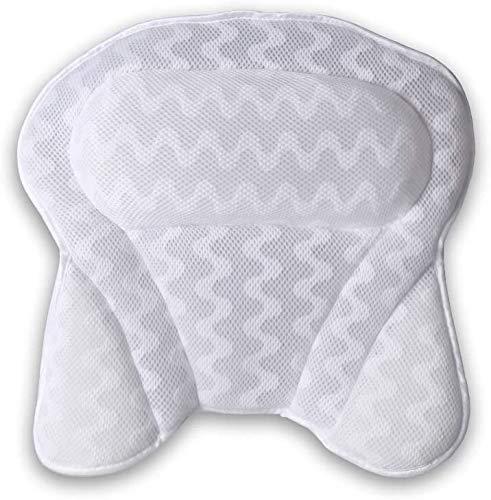 Zeryu Cojín de baño con 6 ventosas antideslizantes, cojín de baño ergonómico para el hogar y el spa extragrueso con soporte para la cabeza, el cuello, los hombros y la espalda