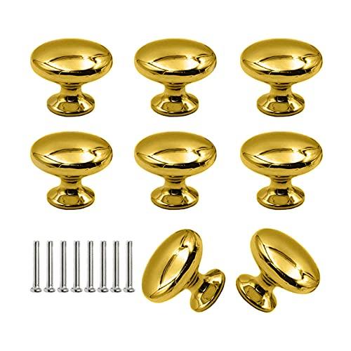 Pladenhblt Pomelli Oro 8 Pezzi Porta Cucina Maniglia per PortaManopola del Cassetto Dell'armadio Pomelli Per Porte Pomello Per Mobili Maniglia per Armadietto, con Viti (30*25 mm,D'oro)