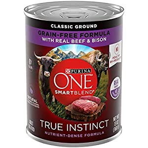 Purina ONE Grain Free Wet Dog Food, SmartBlend True Instinct Classic Ground with Real Beef & Bison – (12) 13 oz. Cans