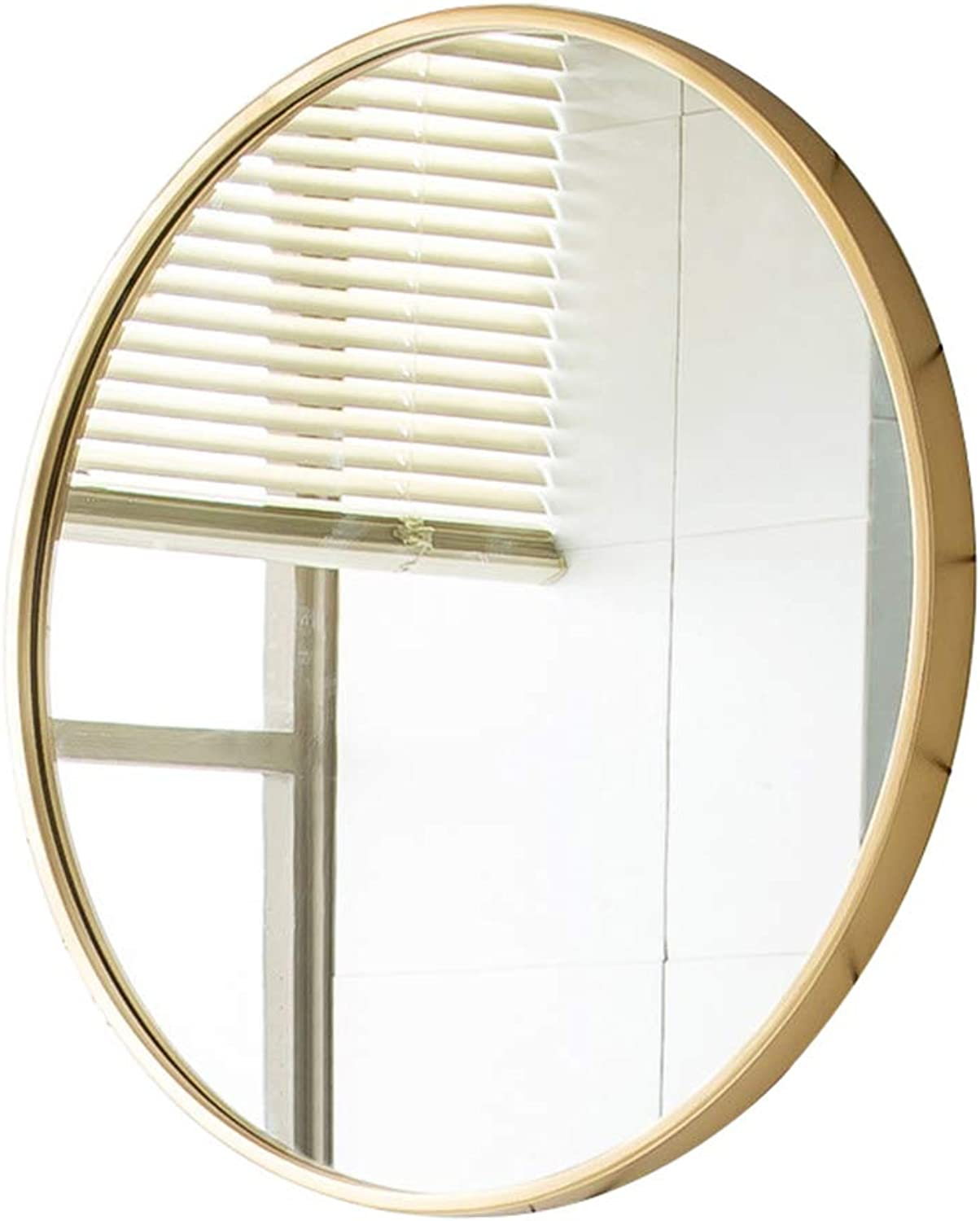 KSWD Bathroom Mirror Wall Mounted, Nordic Wrought Iron Punch-Free Round, gold, Diameter,30cm