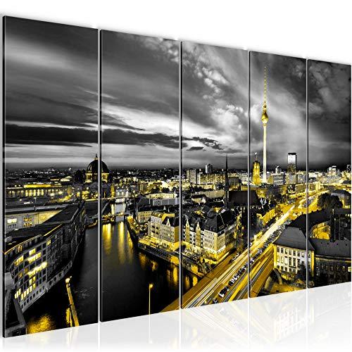Bilder Stadt Berlin Wandbild 200 x 80 cm - 5 Teilig Vlies - Leinwand Bild XXL Format Wandbilder Wohnzimmer Wohnung Deko Kunstdrucke Gelb Schwarz - MADE IN GERMANY - Fertig zum Aufhängen 004355a
