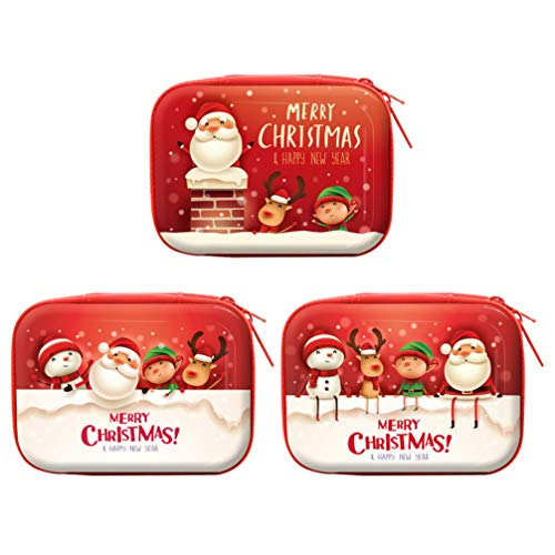 VALICLUD 3pcs Christmas Candy Bag Storage Bag Christmas Themed Tinplate Change Coin Bag Storage Purse for Xmas Party Supplies Red