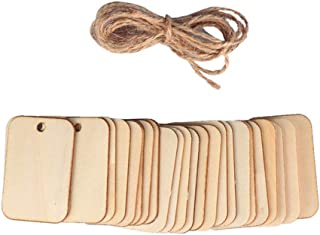 Supvox 153pcs Unfinished Wooden Tags Wood Gift Tags with Hemp Wood Craft Labels Decor for Wedding Holiday New Year Party Supplies Favors