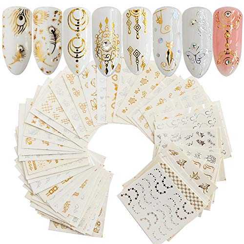 AUOCATTAIL 30 Sheets Nail Art Stickers Water Transfer Nail Decals Gold & Silver Mixed Pattern Metallic Nail Stickers Animals Butterfly Lace Moon Star Art Design Nail Decorations