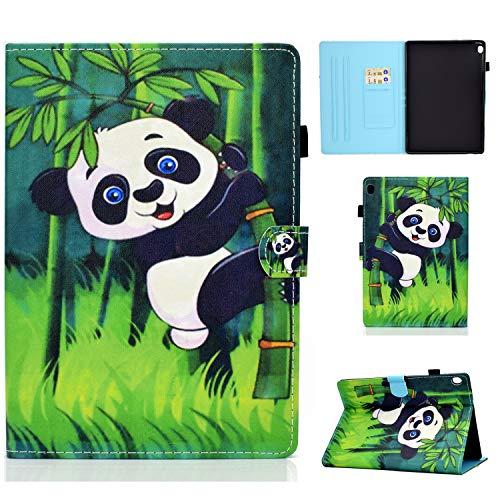 YidaSN Funda para Lenovo Tab M10 Plus FHD 2020 10.3 Inch,Tableta TB-X606F / X606X Caso, Carcasa Cuero PU Silicona y Soporte y Multiángulo Case Flip Cover Protector - Abrazo Panda