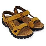 Sports Athletic Sandals Outdoor Summer Men Leather Hiking Beach Shoes Breathable Exposed Toe Strap Walking Fisherman (Amarillo,41/42 EU,26.5CM De talón a Dedo del pie