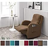 Argstar Jacquard Recliner Sofa Slipcover, Light Brown Stretch Reclining Couch Slip Cover, Spandex Furniture Protector for Small 1 Cushion Seater Living Room, Machine Washable