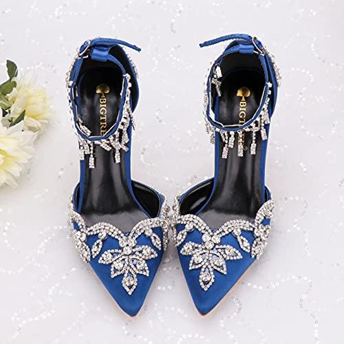 DZQQ Sandalias de Novia, Zapatos de Cristal Azul, Punta Abierta, Tacones Altos,...
