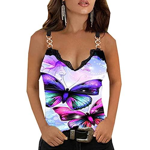 Camiseta Sin Mangas Ajustada De Moda con Estampado De Encaje Y Cuello En V De Verano, Camiseta Sin Mangas Sexi Vintage para Mujer, Camiseta con Estampado De Mariposas