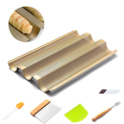 Baguette Pan for Baking 15quot Nonstick Perforated French Bread Baguette Pan2 Pack Dough ScraperPremium Hand Crafted Bread Lame with 5 BladesSilicone Brush for French Bread Loaf Baking Gift Set
