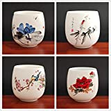 4 pezzi/set Tazza da tè in ceramica Jingdezhen Tazza da tè Caffè dipinta a mano Bicchieri da vino Set da tè blu e bianco Forniture per bicchieri 220ml-chabei, vestito a quattro pezzi 1