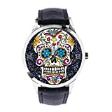 Sugar Skull Custom Wrist Watch Unisex Analogue Quartz Watch with Leather Strap Watches for...