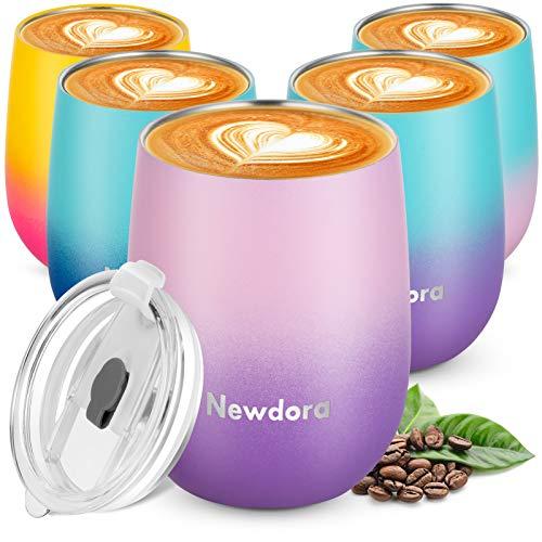 Newdora Termo Cafe 360ml, Taza Térmica de Viaje de Acero Inoxidable con...
