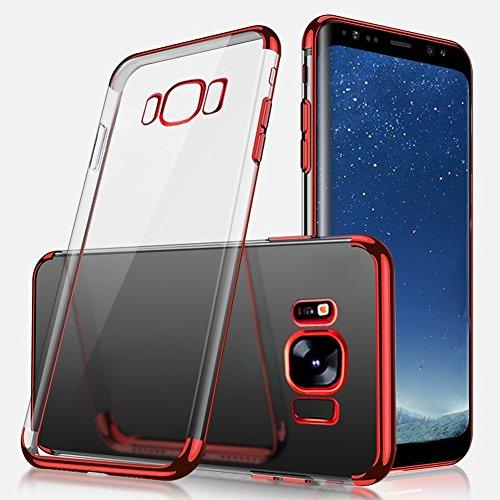 Uposao Kompatibel mit Galaxy S8 Plus Hülle Plating TPU Case mit Überzug Farbig Rahmen Hülle Transparent Slim Case Cover Durchsichtig Dünn Crystal Clear Silikon Handyhülle,Rot