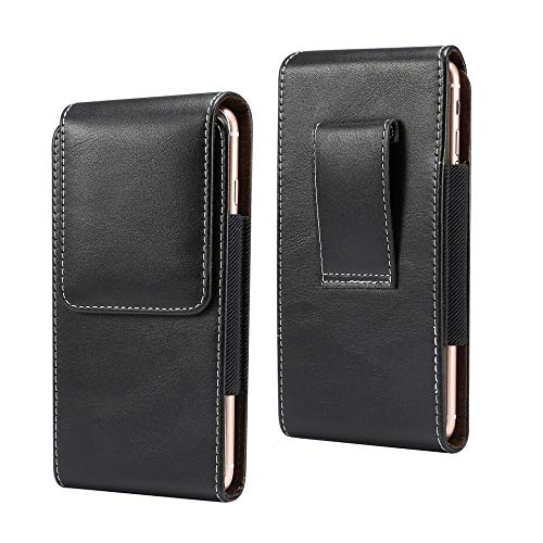 DFV mobile - New Design Vertical Leather Holster with Belt Loop for VIVO V11 (2018) - Black