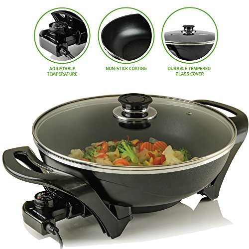 Ovente Electric Skillet with Nonstick Aluminum Coating Pan & Borosilicate Glass Cover 13 Inch, 1400 Watt Cooking Wok with Temperature Control Cool Touch Handle, for Breakfast & Dinner, Black SK3113B