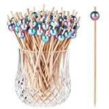 ALINK 100-Pack Cocktail Picks for Drinks Appetizers, Rainbow Wooden Toothpicks Cocktail Sticks Party Supplies - 4.72 inch