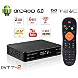 GT MEDIA GTT-2 Decodificador TDT Android 6.0 TV Box 4K Digital Receptor Terrestre DVB-T/T2 Smart TV Box Amlogic S905D Quad-Core 2GB+8GB 3D H.265 MPEG-2/4 WIFI 2.4Ghz Soporte Netflix YouTube CCcam