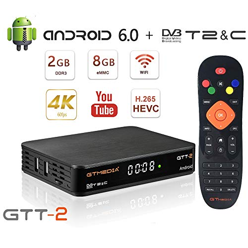 GT MEDIA GTT-2 DVB-T/T2 Receiver 4K Android 6.0 TV Box DVB-C Receiver Kabelreceiver, Amlogic S905D 2GB RAM+8GB ROM Quad-Core H.265 HEVC MPEG-2/4 WiFi 2.4Ghz PVR Smart TV Box