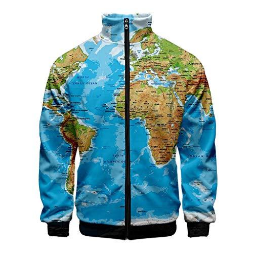 KPILP Herren Langarm Jacke Weltkarte 3D Drucken Mäntel Gemütlichlocker Herbst Winter Freizeit Jacken Warm Hoodies Sweatshit Retro Kleidung