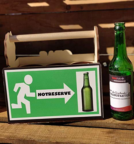 Lusitge Bierträger für Bierflaschen | Flaschenträger Notreserve | 6er Träger mit Farbdruck | die Bierkiste für Opa oder Papa | Notreserve wenn das Bier knapp wird